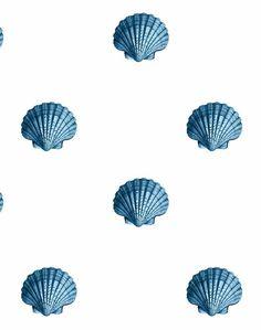 'Seashell' Wallpaper by Wallshoppe - Blue - Removable Panel