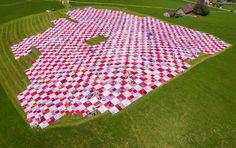 frank + patrik riklin blanket swiss countryside with huge BIGNIK cloth