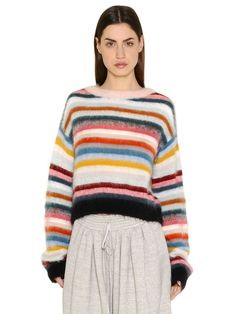 ChloÉ Mohair, Wool & Cashmere Striped Oversized Sweater In Multi Knitwear Fashion, Striped Knit, Knitting Designs, Knitting Yarn, Trends, Casual, Sweaters, How To Wear, Outfits