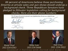 Eighty-eight percent of Americans believe those purchasing firearms at private sales and gun shows should undergo a background check. Three Republican Senators have pledged to filibuster legislation requiring such background checks. Here are their names and phone numbers.
