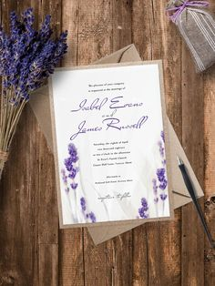 Layered Lavender Wedding Invitation by pineappleinvitations