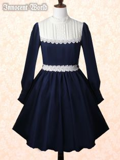 Innocent World Standing Collar Rose Lace OP in Navy