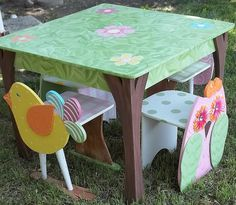 Childrens Table and Chair SET Bird Owl Themed Haley by spoiltrottn, $289.95