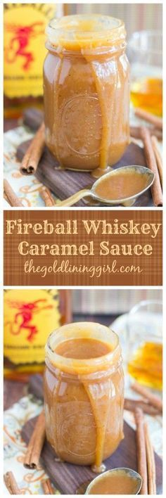 Homemade, from-scratch, whiskey caramel sauce made with Fireball whiskey for…