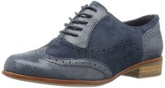 Clarks Womens Casual Clarks Hamble Oak Leather Shoes In Navy Combi Standard Fit Size 8