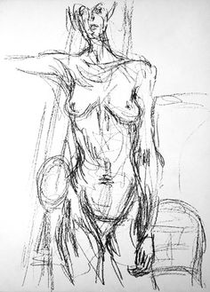 Artist - Alberto Giacometti. Simple line drawing done using a loose gestural technique that emphasizes the fact that the figure was 'caught in the moment'. i love how expressive this piece is due to the sketchy nature of it.