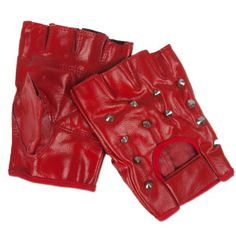Red fingerless studded gloves made of soft leather