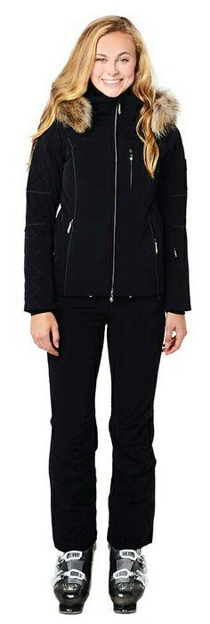 Women's DESCENTE Mira Ski Jacket w. Faux Fur Trimmed Hood & Black Ski Pants.