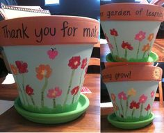 Teacher Appreciation Flower Pot I made for my CT -- I had all my students use their fingerprints for the flower petals, then wrote their names along the stem. Afterwords, I was able to add butterflies, caterpillars, ladybugs, and a sun. :)