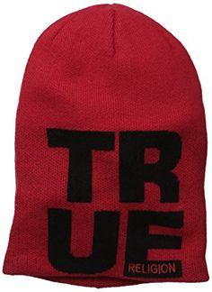 e6987f2e3c231 True Religion Men s Slouchy Beaniw W Knit-In-Letters Review True Religion  Men