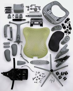 thekhooll: Disassembled A disassembled Herman Miller Mirra chair.
