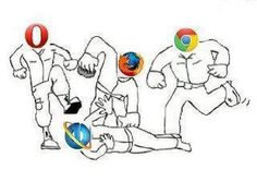 This picture the describes the browser war that is going on now a day. As always internet explorer is loosing. Vintage Funny Quotes, Cute Funny Quotes, Funny Quotes About Life, You Funny, Really Funny, Funny Stuff, Internet Explorer, Freedom Movement In India, Funny Images