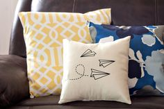 Paper Airplanes Decorative Pillow by BlissNotions on Etsy https://www.etsy.com/listing/229473579/paper-airplanes-decorative-pillow