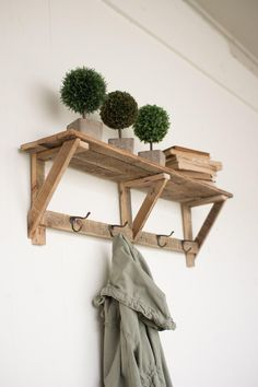 Recycled Wood Shelf With Four Coat Hooks #countryfurniture