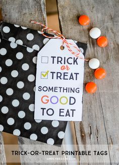 Add this adorable trick-or-treat printable gift tag to any treat and it's a perfect Halloween party favor or gift!