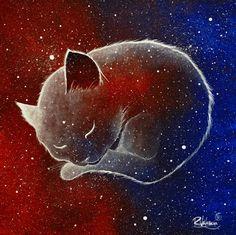 I'm cat by RaphaelVavasseur Cat And Dog Tattoo, Cat Tattoo, Art Et Illustration, Illustrations, Art Original, Original Paintings, Galaxy Painting, Painting Art, Spirited Art