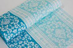 Svadobné servítky z netkanej textílie Royal tyrkysové - modré - biele