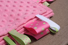 Pink Minkie Sensory Ribbon Tag Blanket with Polka by SeamsDivine, $18.00