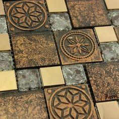Resin Shell Mosaic Tile Blend Gl Stone Rnmt049 Modern Kitchen