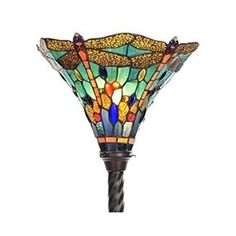 Tiffany-style Dragonfly Torchiere Lamp ($137) ❤ liked on Polyvore featuring home, lighting, green, green shades, colored lights, warehouse of tiffany lamps, handmade lamps and tiffany style stained glass