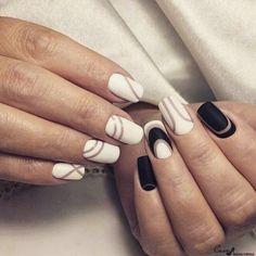 Beautiful new year's nail, Bright nails ideas, Christmas nails, Geometric nails ideas, Matte black nails, Nail art stripes, Nails by striped dress, New year nails ideas 2017