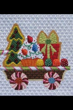 Christmas needlepoint train - tree, present, candy