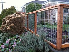 Eco Friendly Garden Fences Ideas : Pink Roses Green Lawn Brick House Wire And Wood Garden Fences Ideas by morgan.family.75