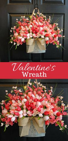 Valentine's Day wreaths floral container decorations #ad #valentinesday #valentinesdecor