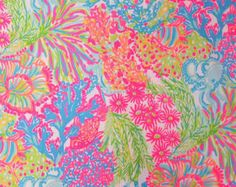 cf91592a444373 2016 Lilly Pulitzer Cotton Dobby Fabric Multi Lovers Coral 18 x 18 inches a