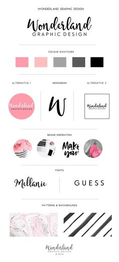 This is my own business branding concept preview for Wonderland Graphic Design (©️2016) containing logos, monogram, colour swatches and beautiful fonts. I love the contrast between the monochrome modern, chic girl-boss look with shades of black white and grey, and the pink, feminine florals. The marble background is stunning; I love it!