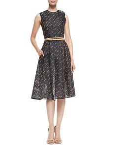 Victoria Beckham Floral Organza Dress with Belt