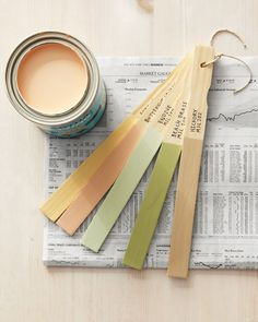 """keep a visual paint swatch of your house's paint colors by dipping a paint stick in your paint, then labeling with paint name and color numbers."""