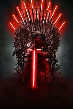Star Wars Meets Game of Thrones - Will Kylo Ren sit on the Iron Throne? Star Wars Fan Art, Simbolos Star Wars, Star Wars Kylo Ren, Anakin Vader, Darth Vader, Star Wars Brasil, Cuadros Star Wars, Knights Of Ren, Star Wars Images