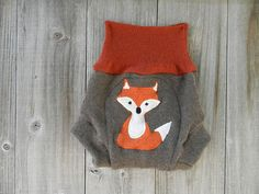 Upcycled Wool Soaker Cover Diaper Cover With Added Doubler Brown /Rusty Orange With Fox Applique LARGE 12-24M Kidsgogreen via Etsy