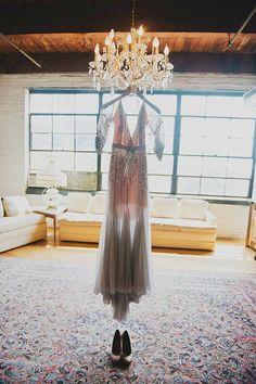 Jenny Packham Grey Backless Dress Inspired Wedding by atelierTAMI, $970.00