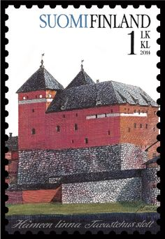 Burg Haeme, Burg Häme, is a medieval castle,  mid-13th century,  in Hämeenlinna, Finland.  Old castles.   Post stamp from Finland , circa 2014 .