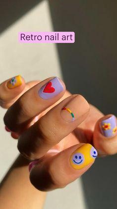 Summer Acrylic Nails, Bright Summer Nails, Spring Nails, Summer Nail Art, Acrylic Gel, Pastel Nails, Blue Nails, White Nails, Funky Nail Art