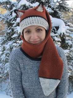 Crochet Fox Hat-Scarf--Free Pattern