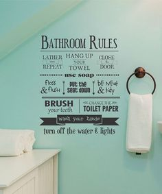 'Bathroom Rules' Wall Decal
