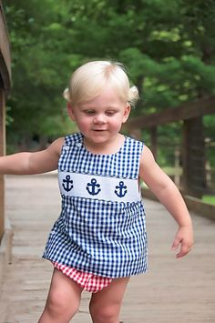 Large Navy & Red Gingham Smocked Anchors Diaper Cover Set