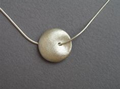 Sterling Silver Necklace Pendant, Puffy Bead Pendant, Round