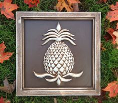 Garden Decor by Marie Ricci. Pineapple plaque shown in vintage brown. www.mariericci.com