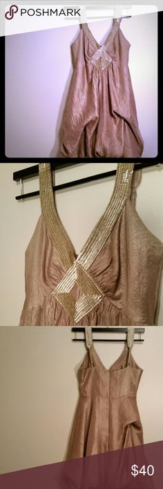 BCBG Max Azria Bubble Dress Soft gold bubble mini dress with matte gold sequins. 26 inches long. Cute and sophisticated. BCBGMaxAzria Dresses Mini
