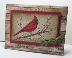 Cardinal on a Snowy Branch Christmas Card by GWTW Junkie - Cards and Paper Crafts at Splitcoaststampers