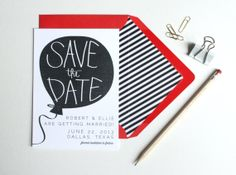 Balloon Wedding Invitation // Wedding Announcement // Save the Date // Puddleduck Paper Co. // Etsy