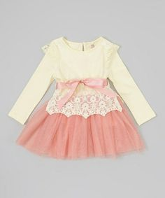 Take a look at this Ivory & Pink Lace Tutu Dress - Infant, Toddler & Girls by Sweet Cheeks on #zulily today!