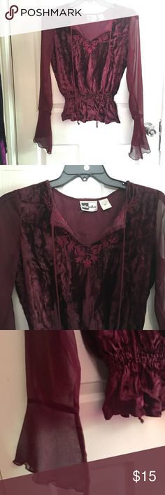 Boho Burgundy Velevt Embroidered Top Beautiful bohemian Burgundy velvet embroidered top.. Lightly worn... Size medium Hokus Pokus Tops Blouses
