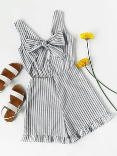 Striped Cut Out Knot Front V Back Frill Romper