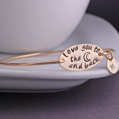 Gold Love You to the Moon and Back Bracelet by georgiedesigns