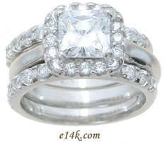 wide cz sterling ring | Sterling Silver Princess Cut Halo Style Russian CZ Engagement Ring ...